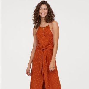 H&M conscious tie front orange/rust maxi dress
